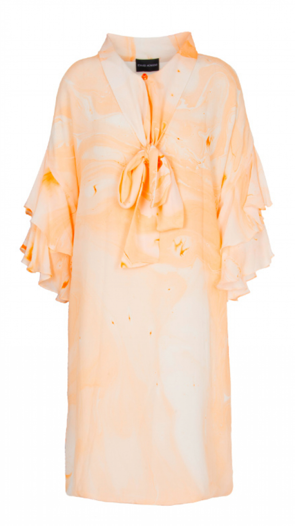 Bow Neck Marbled Silk Dress - Orange