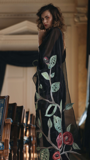 Black scarf with Floral Details 2