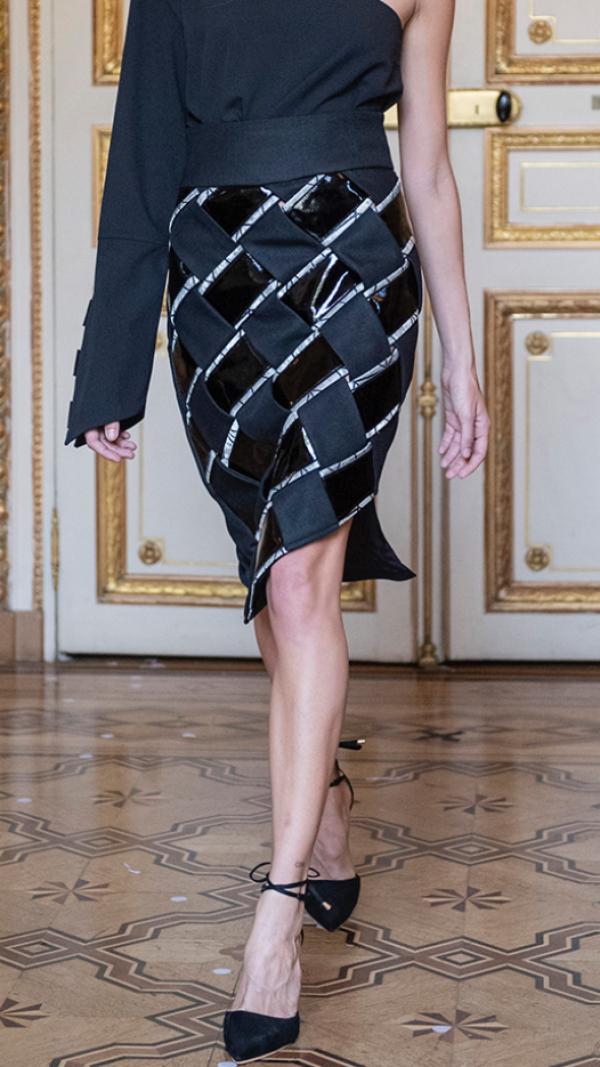 Leather pencil, asymmetric skirt 2