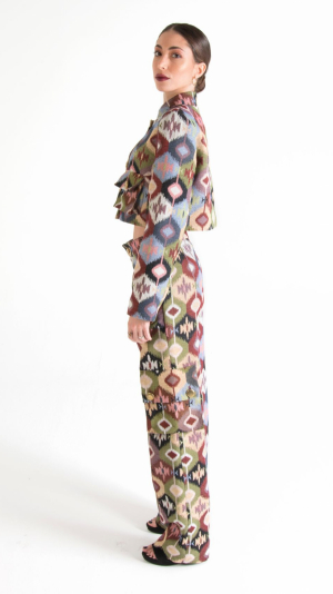 Multicolor Canvas Long Trousers with Pockets 2