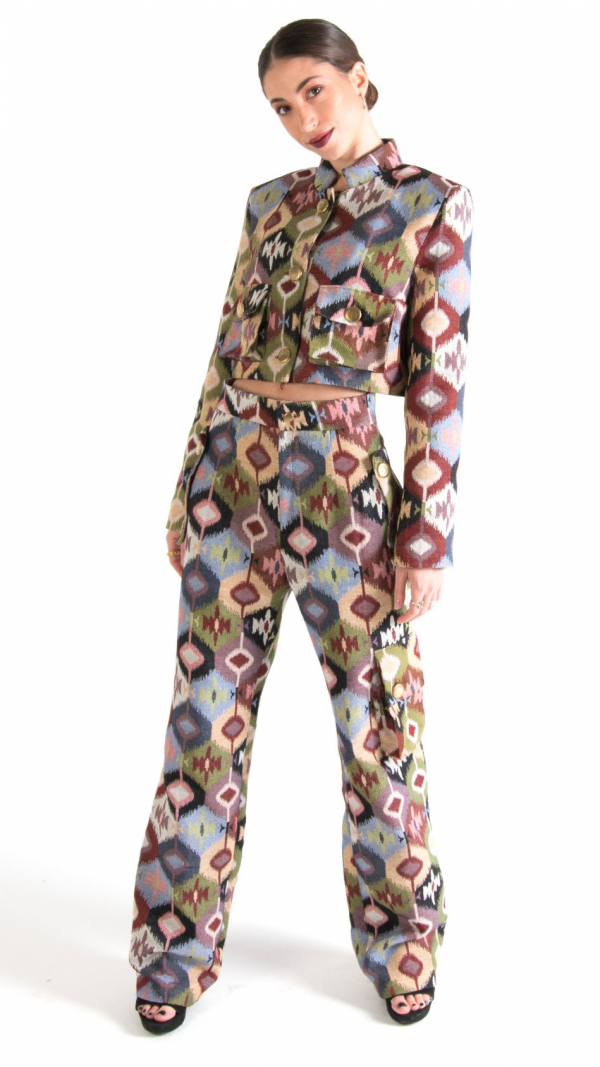 Multicolor Canvas Long Trousers with Pockets