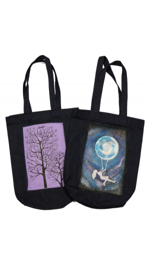 """Handmade Large Cotton Shopper bag with hand painted """"Trees"""" 2"""