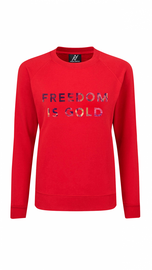 Sweatshirt Freedom Is Gold Holographic Red 1