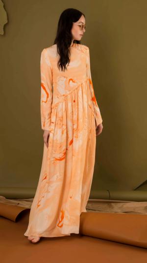 Gathered Silk Marbled Panel Dress - Orange 2