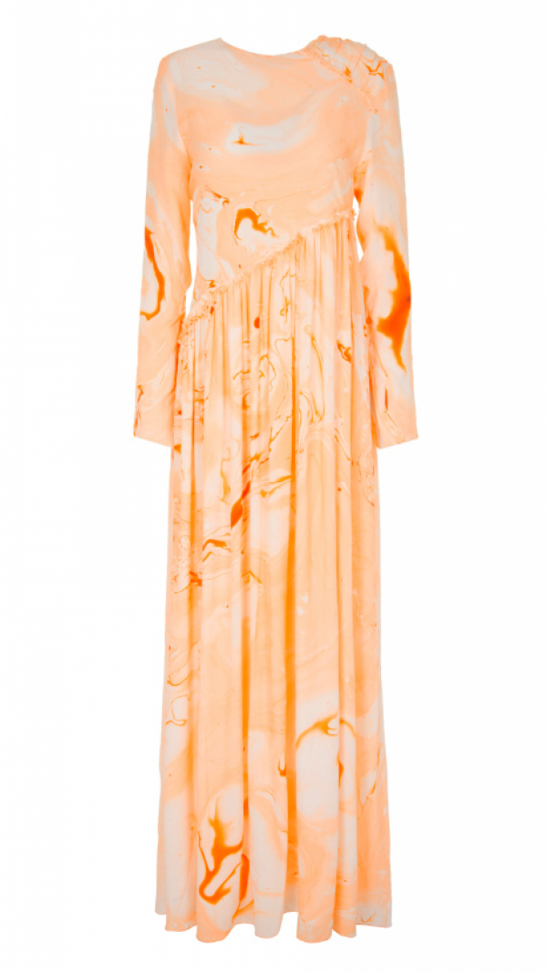 Gathered Silk Marbled Panel Dress - Orange