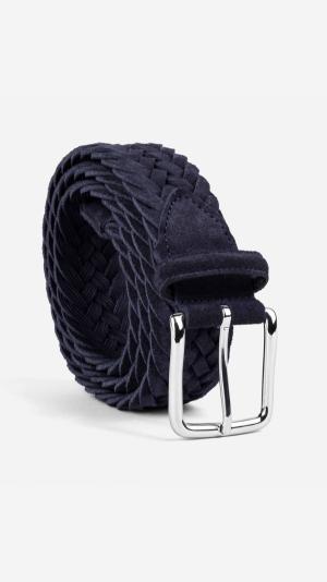 Braided Suede Belt Blue - Alfredo 1