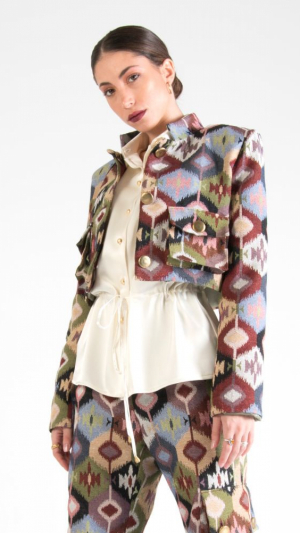 Multicolor Canvas Cropped Jacket with Pockets 1