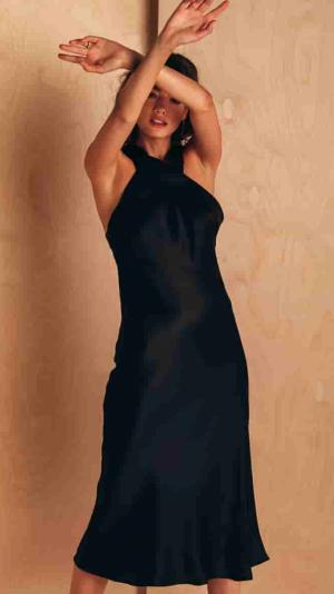 Halter Neck Silk Dress 1