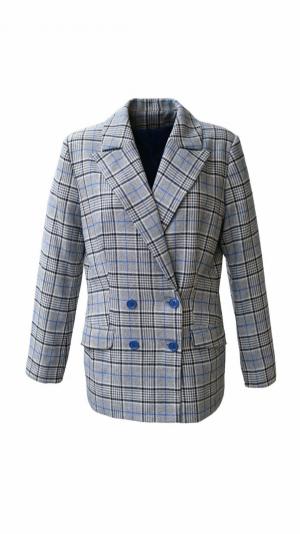 Check gray blazer 1