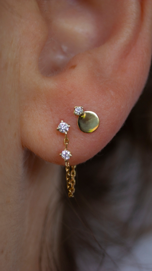 Icicle 2 Diamond Chain Earring - Single 2