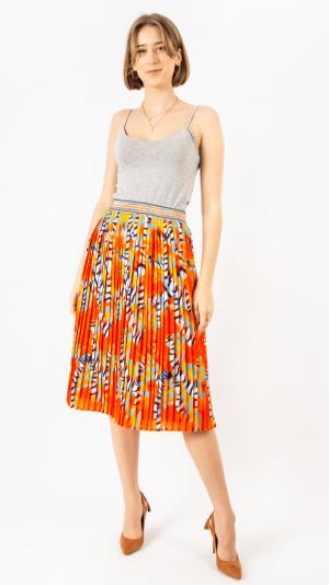 Pleated Skirt Orange Sea