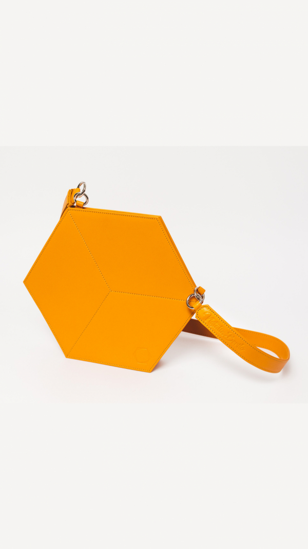 Leather Handbag Yellow Flat Hexacube 2
