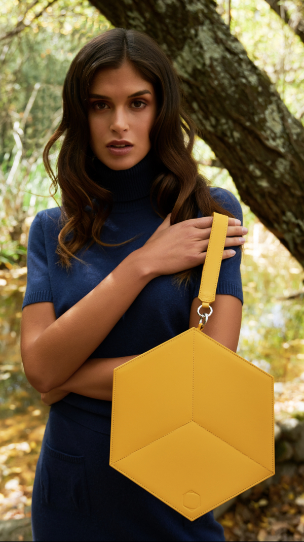 Leather Handbag Yellow Flat Hexacube 1