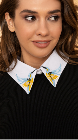 Detachable Embroidered Collar With Birds 100% Cotton 1