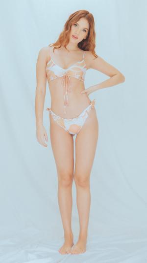 Ambar bikini top in Clay & Sand print 2