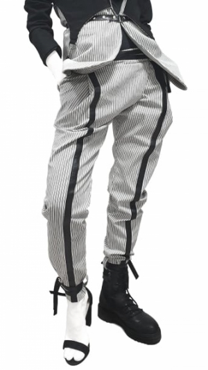 Women's striped pants with leather details 1