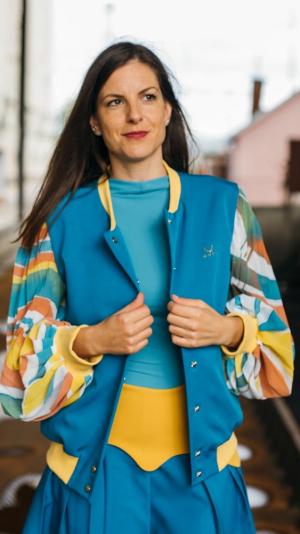 Bomber jacket with pleated sleeves- Cosmic unity 1