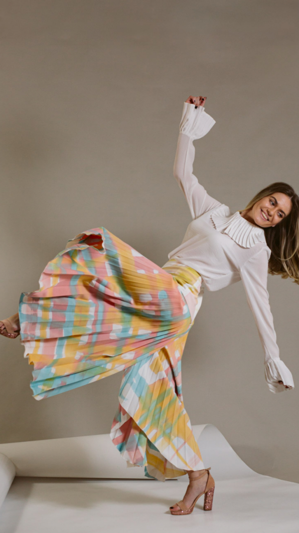 Hand-painted and pleated pants-collection Ray Charles 1