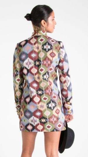 Multicolor Canvas Long Sleeve Mini Dress 2