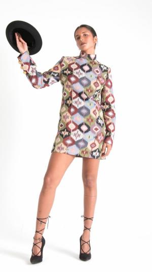 Multicolor Canvas Long Sleeve Mini Dress 1