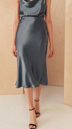 Back to All Silk Midi Skirt with Elastic Waistband 2