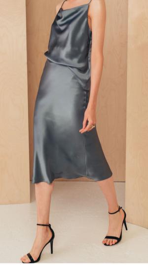 Back to All Silk Midi Skirt with Elastic Waistband 1