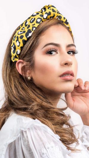 Leopard Print Headband (Yellow & Black) 1