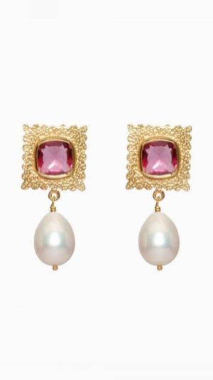 Baroque Pearl and Tourmaline Quartz Earrings 1