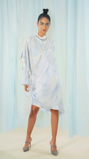 Asymmetrical Marbled Silk Satin Dress - Blue & Grey 2