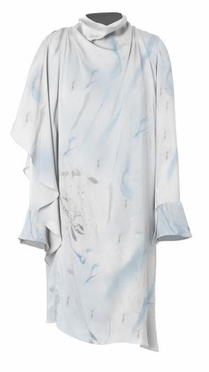 Asymmetrical Marbled Silk Satin Dress - Blue & Grey 1