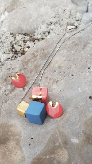 Cube &Tube porcelain jewelry set 1