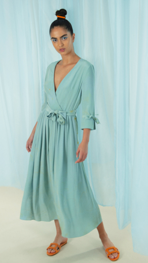 Hand Marbled Silk Wrap Dress - Duckegg 2