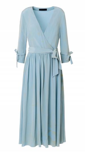 Hand Marbled Silk Wrap Dress - Duckegg 1