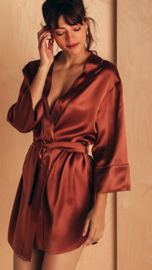 Short Silk Robe 2