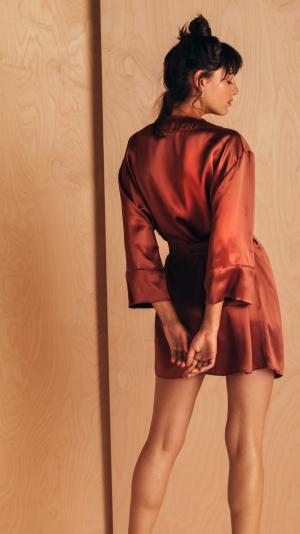 Short Silk Robe 1