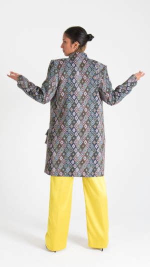 Multicolor Canvas Long Jacket with Pockets 2