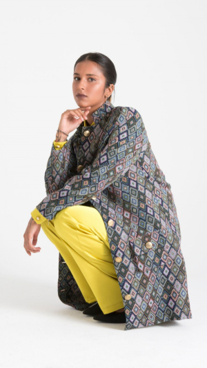 Multicolor Canvas Long Jacket with Pockets 1