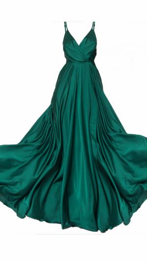 Satin Long Dress Emerald 2