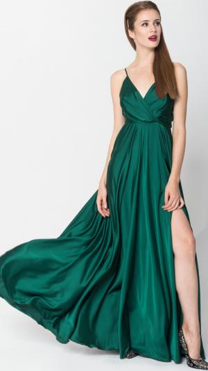 Satin Long Dress Emerald 1