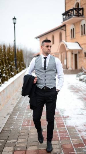 Borrdoo modern waistcoat black&white 2