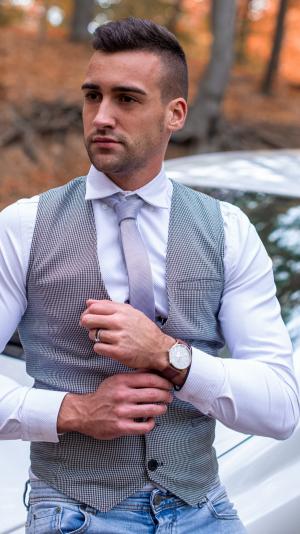 Borrdoo modern waistcoat black&white