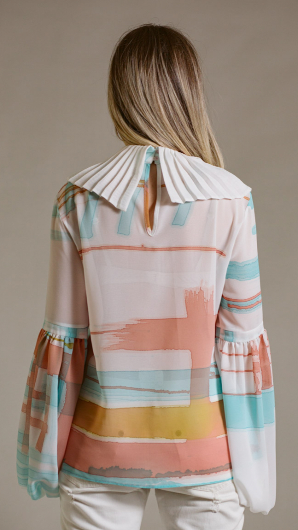 Hand-painted blouse with pleated collar Ray Charles 2