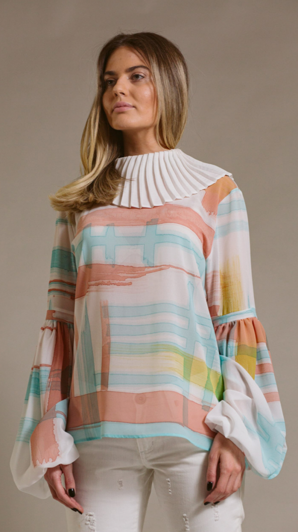 Hand-painted blouse with pleated collar Ray Charles 1