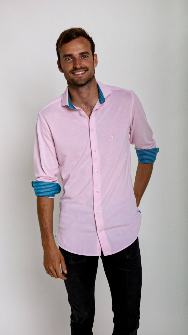 Pink Pique Cotton Shirt with African Fabric Trim 2
