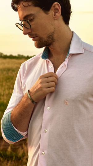 Pink Pique Cotton Shirt with African Fabric Trim 1