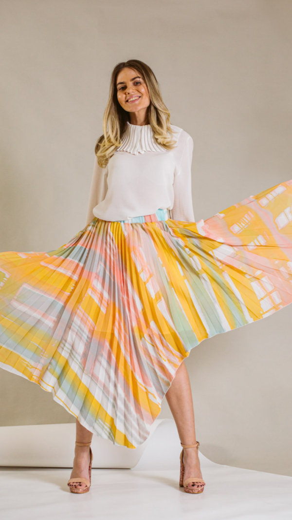 Hand-painted and pleated skirt-collection Ray Charles 1