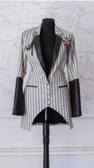 Women's blazer with leather details 1
