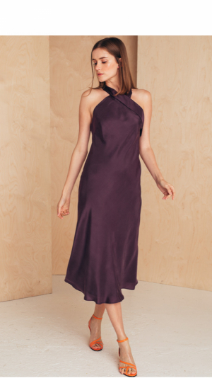 Halter Neck Silk Dress 2