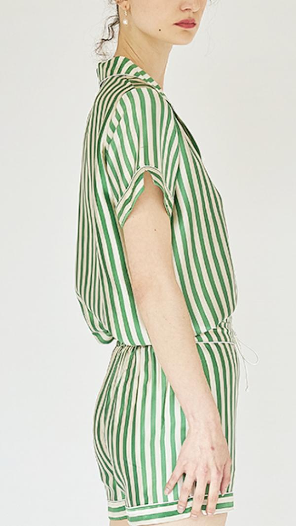 Silk Stripes Short Pajama Set 2