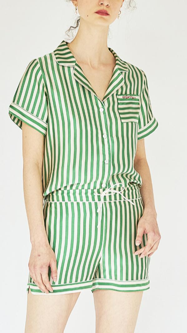 Silk Stripes Short Pajama Set 1